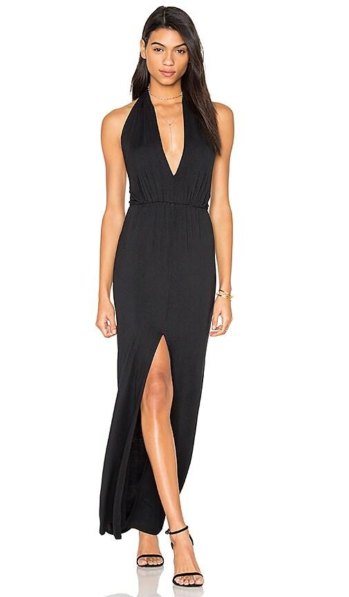 krisa Open Halter Back Dress in Black