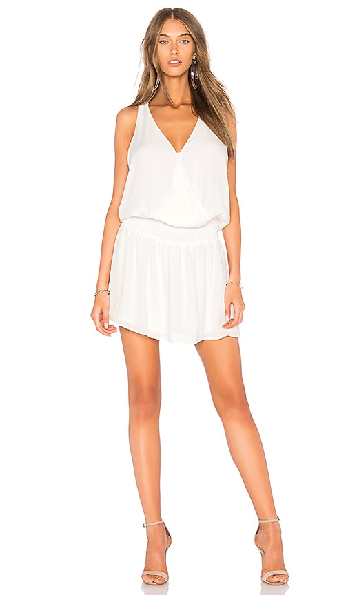 krisa Smocked Surplice Mini Dress in White