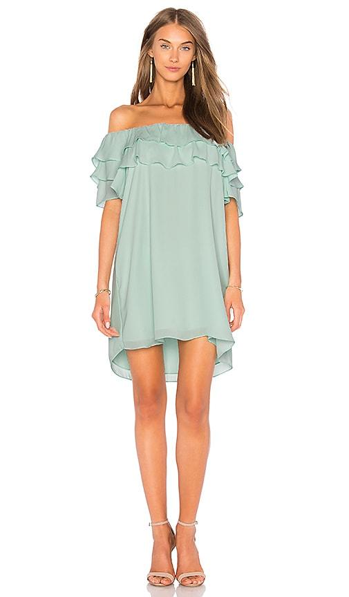 krisa Off Shoulder Ruffle Dress in Mint