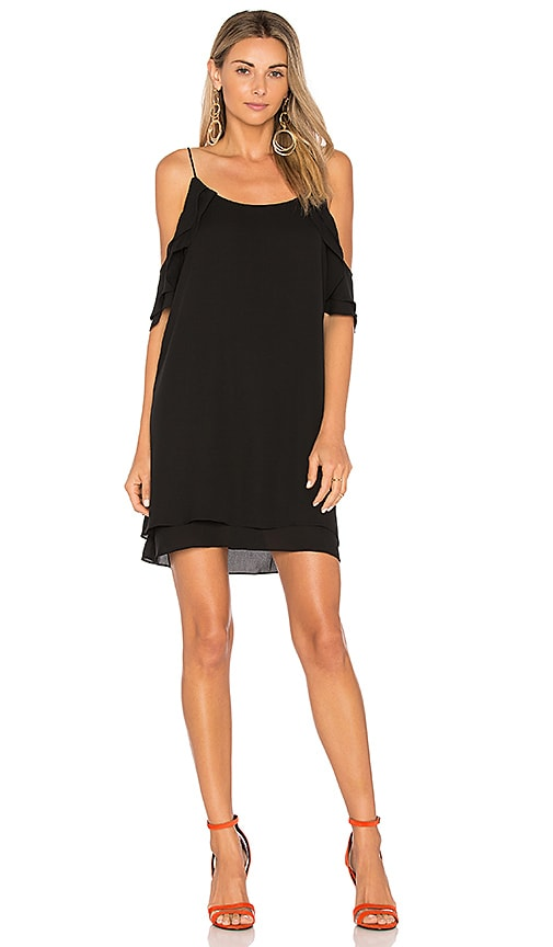 krisa Cold Shoulder Mini Dress in Black