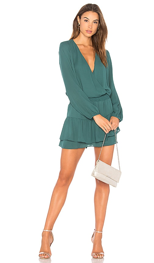 krisa Smocked Surplice Dress in Green