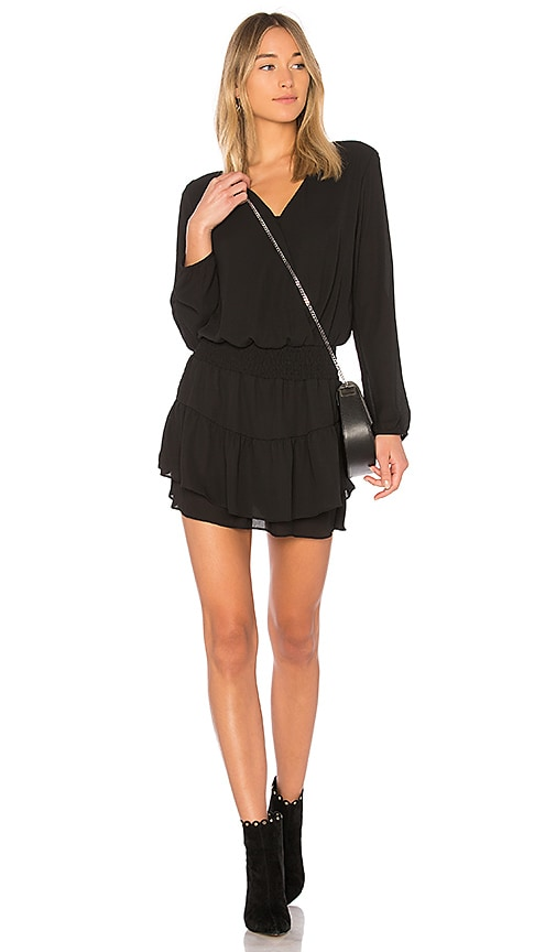 krisa Smocked Surplice Dress in Black