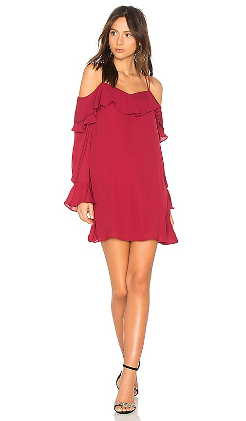 krisa Double Ruffle Dress in Burgundy