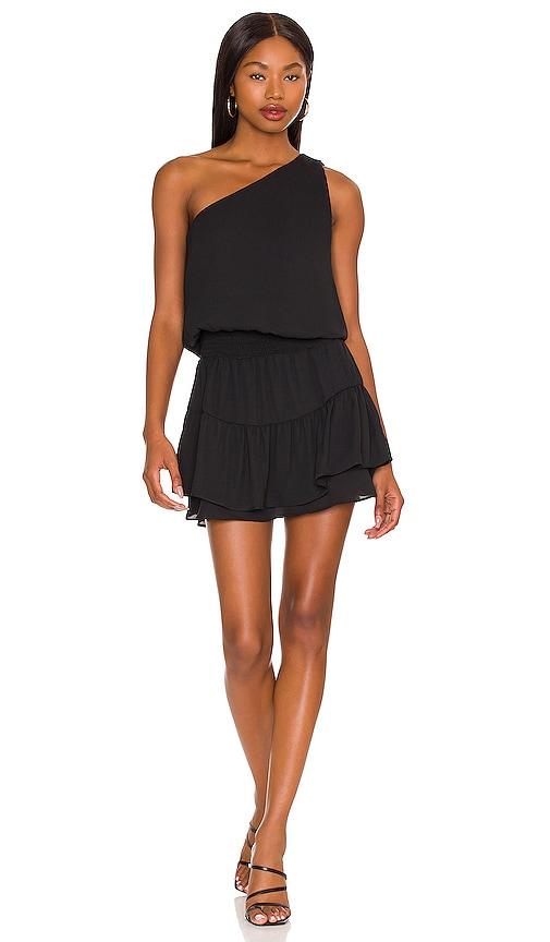 krisa One Shoulder Ruffle Dress in Black