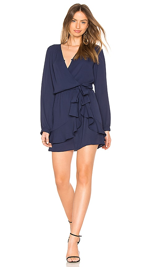 krisa Ruffle Wrap Dress in Blue