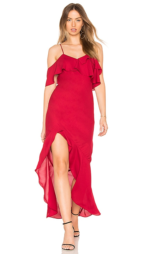 krisa High Low Ruffle Dress in Red