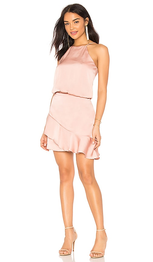 krisa Halter Ruffle Mini Dress in Blush