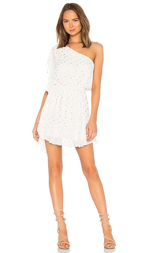 krisa One Shoulder Ruffle Mini Dress in White