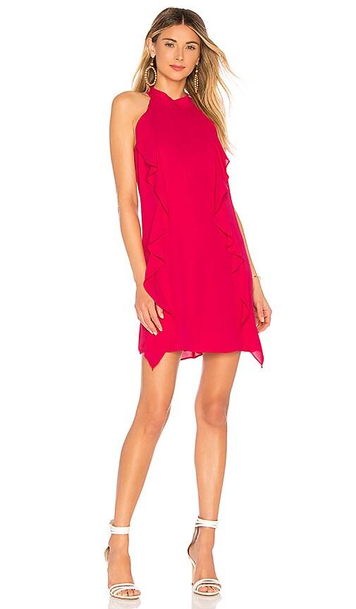krisa Turtleneck Ruffle Mini Dress in Fuchsia