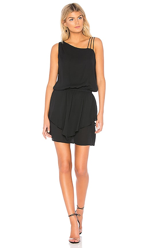 krisa Asymmetrical Layered Mini Dress in Black