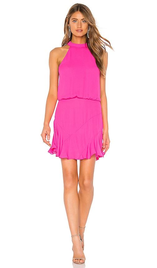 Asymmetrical Flare Halter Dress