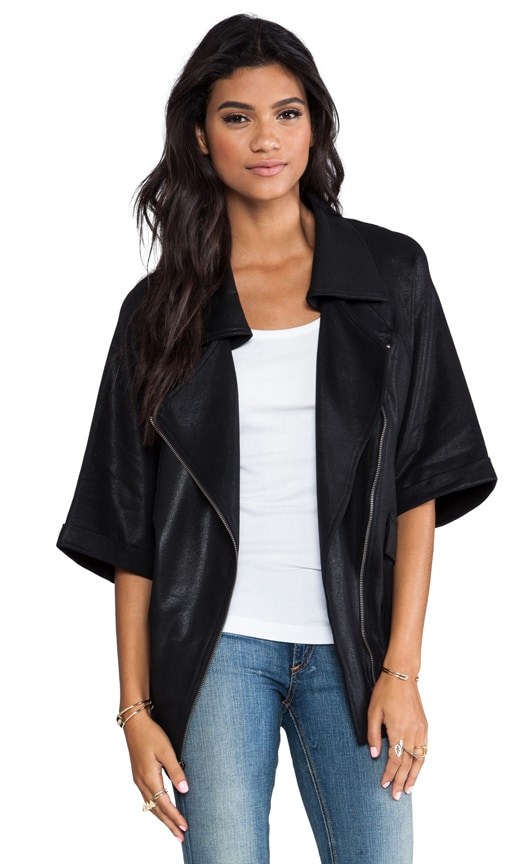 Coated Oversized Short Sleeve Moto Jacket