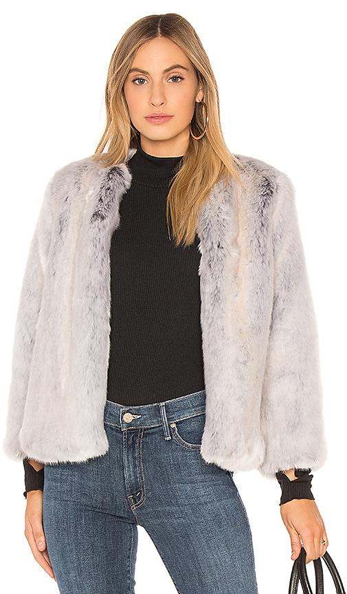 krisa Camila Faux Fur Jacket in White