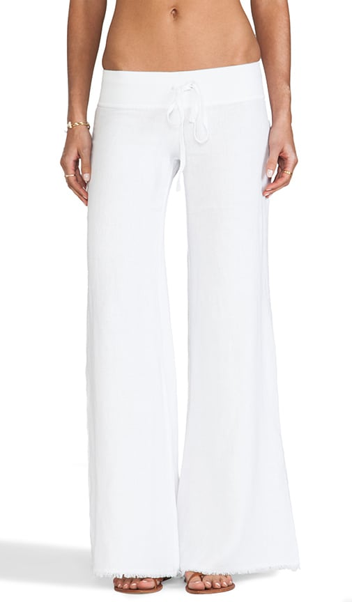 krisa Wide Leg Linen Pant in White
