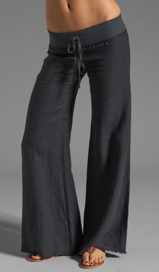 Wide Leg Linen Pant is Graphite