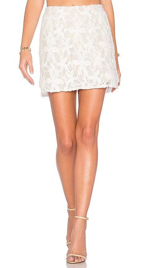 krisa Lace Mini Skirt in White