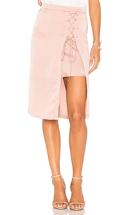 krisa Layered Lace Up Pencil Skirt in Pink