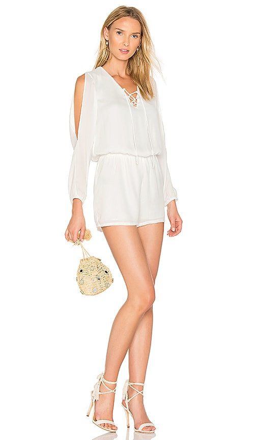 krisa Lace Up Romper in White