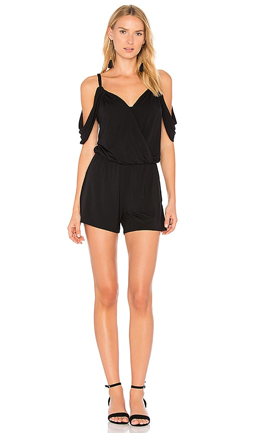 krisa Cold Shoulder Romper in Black