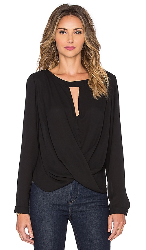 krisa Long Sleeve Boatneck Surplice Blouse in Black