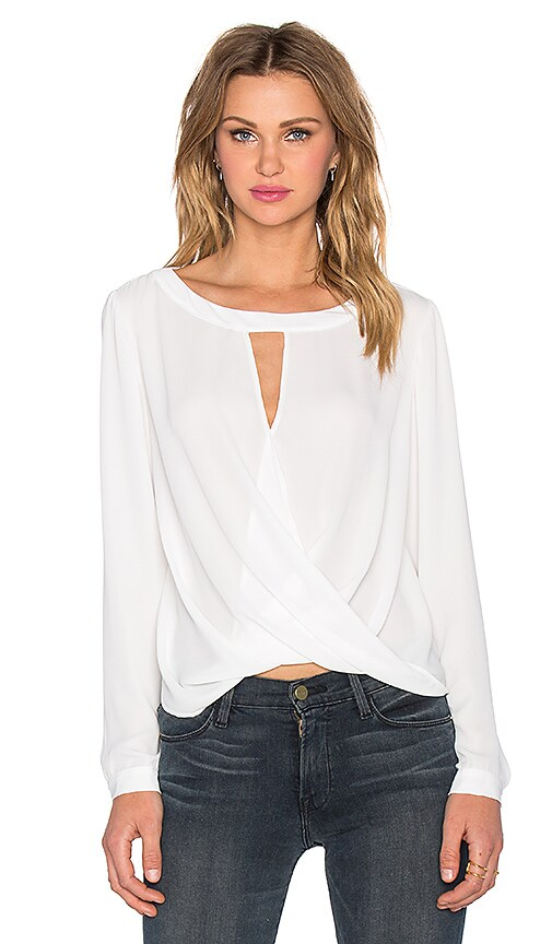 Long Sleeve Boatneck Surplice Blouse
