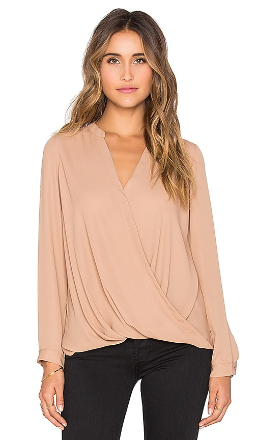 krisa Surplice Long Sleeve Blouse in Tan