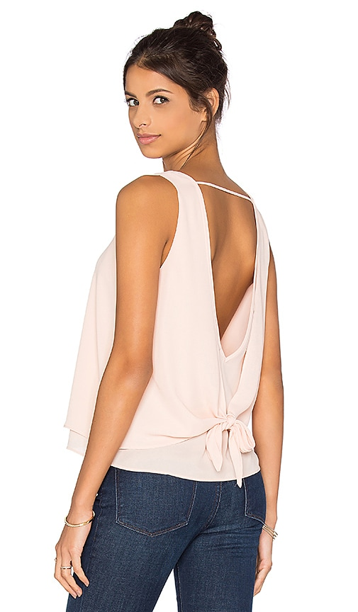 krisa Double Layer Tie Back Tank in Peach