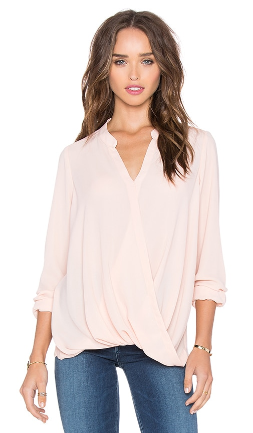 krisa Surplice Long Sleeve Top in Ballet