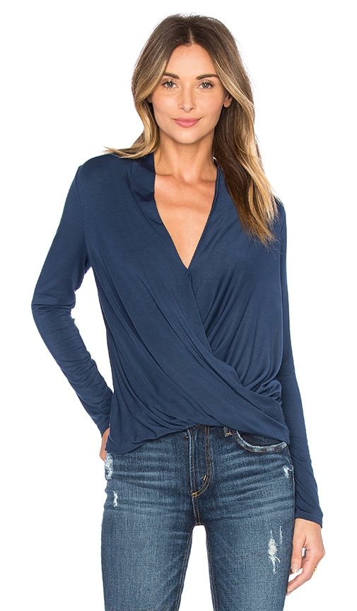 krisa Long Sleeve Surplice Top in Blue
