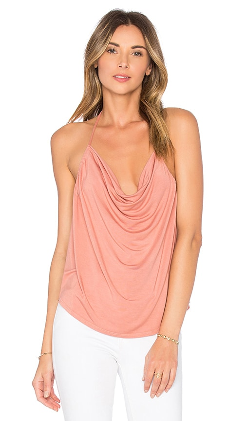 krisa Open Back Drape Halter Top in Ocher