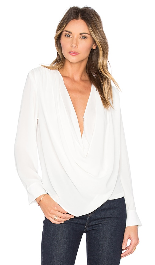 krisa Draped Surplice Blouse in White