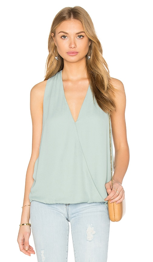 krisa Surplice Tank in Mint