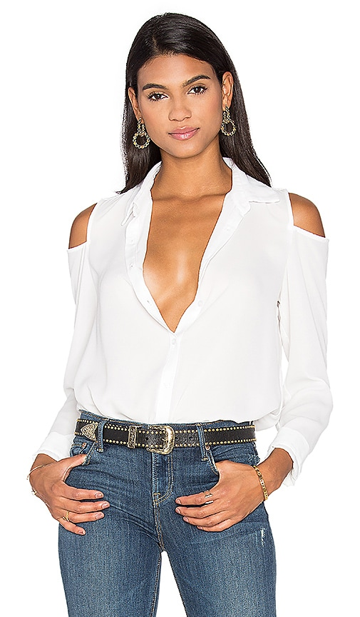 krisa Cutout Shoulder Button Up Top in White