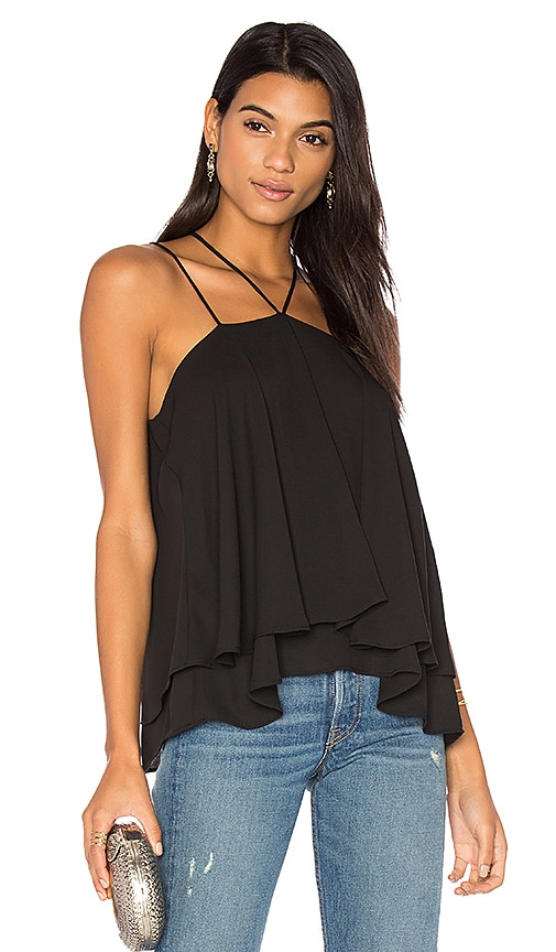 krisa Double Strap Layered Cami in Black