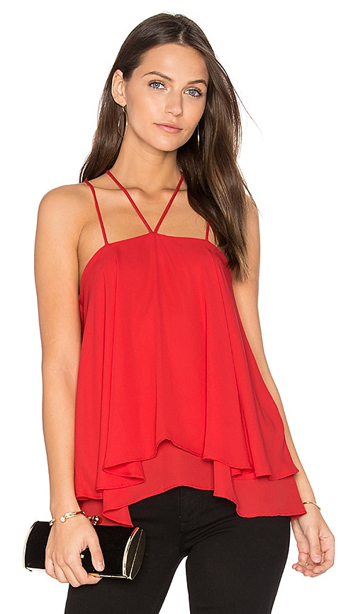 krisa Double Strap Layered Cami in Red