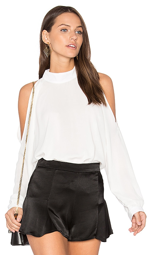krisa Cold Shoulder Turtleneck Top in White