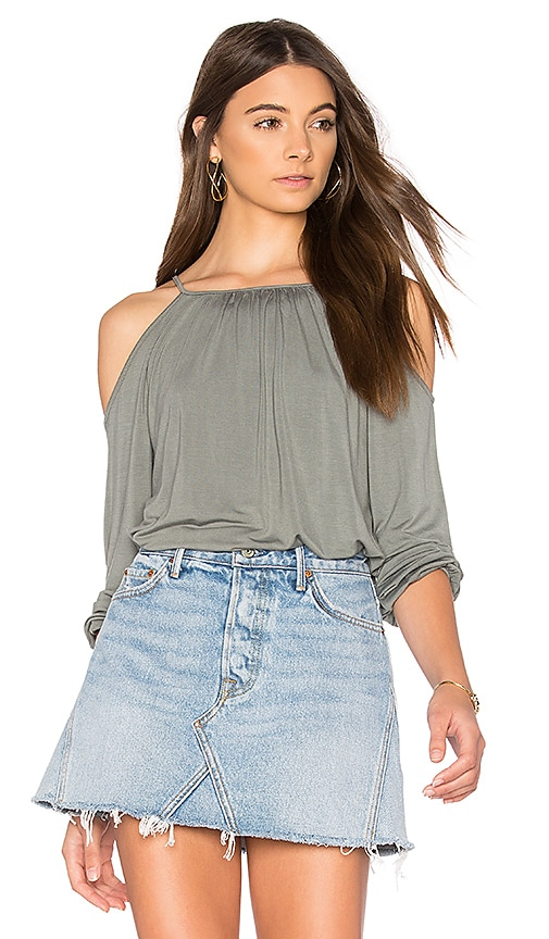 krisa Cold Shoulder Top in Sage