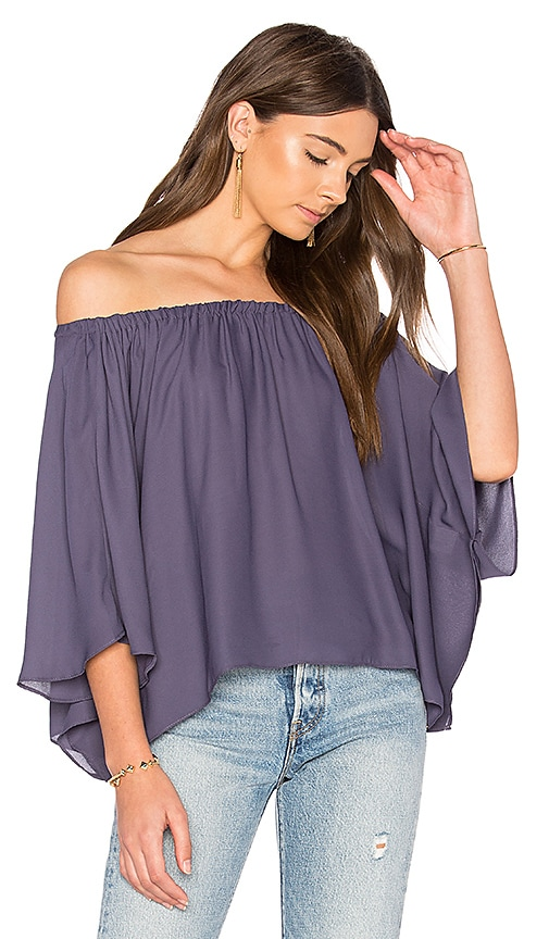 krisa Off Shoulder Drape Top in Purple