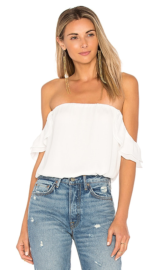 krisa Ruffle Off Shoulder Top in White
