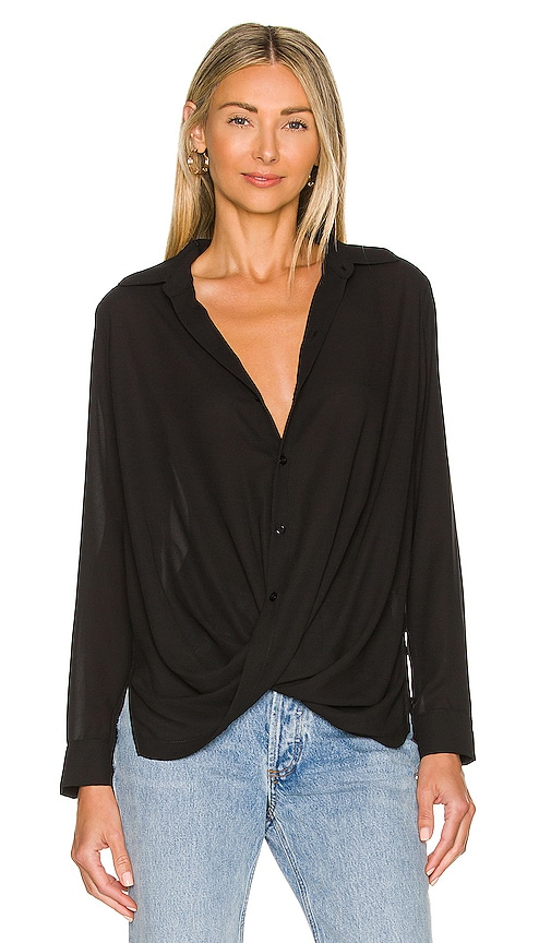 krisa Surplice Blouse in Black