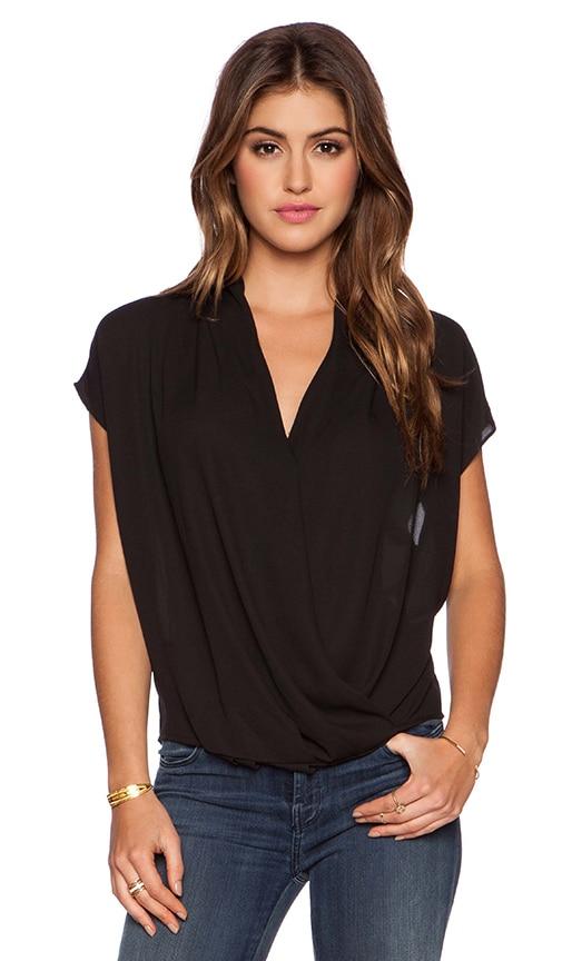 krisa Surplice Short Sleeve Top in Black