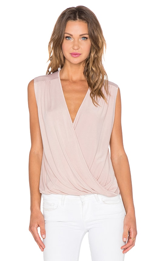 krisa Surplice Tank in Nude