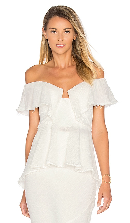 KITX Strapless Flounce Top in White