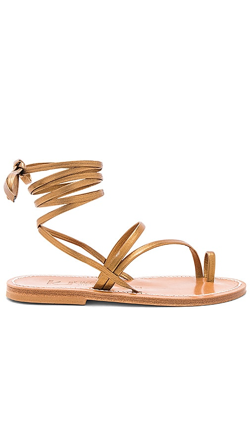 K Jacques Ellada Sandal in Metallic Bronze