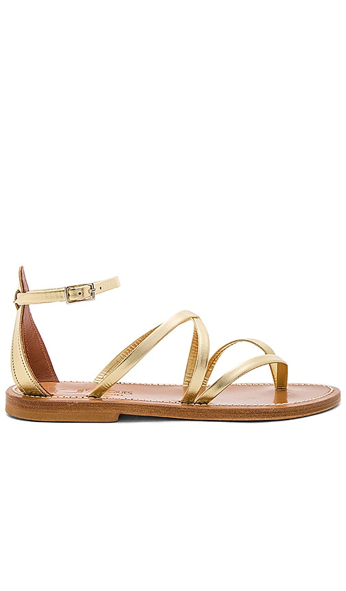 K Jacques Epicure Sandal in Metallic Gold