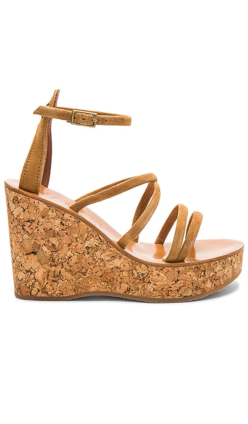 K Jacques Lorette Wedge in Tan