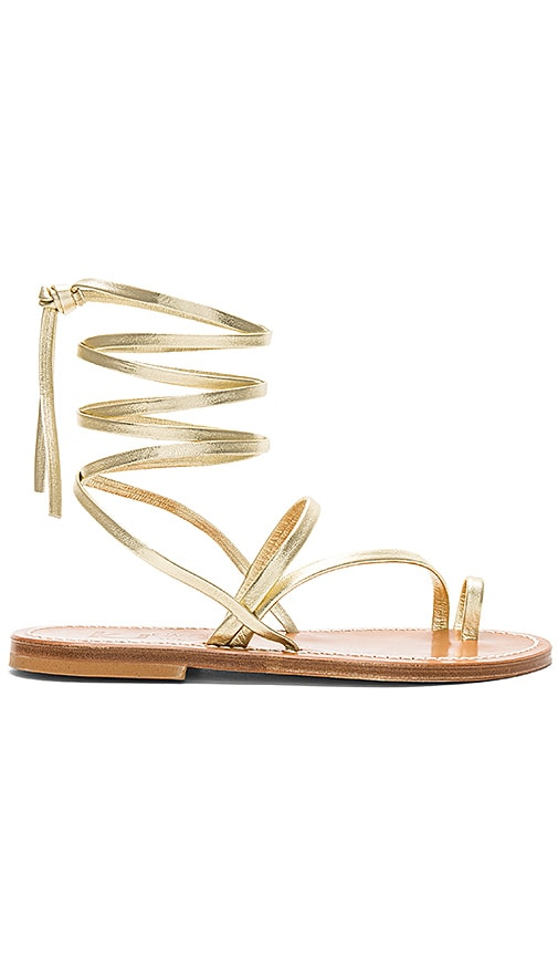 K Jacques Ellada Sandal in Metallic Gold