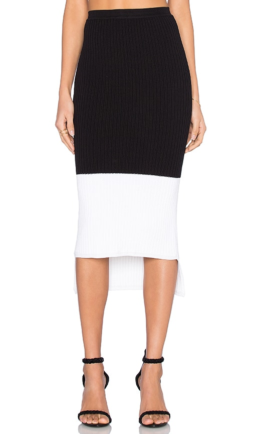 Kathryn McCarron Agna Knit Hi-Low Skirt in Black & White