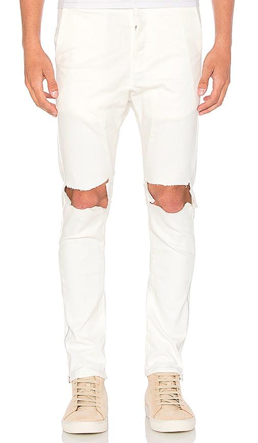 Daniel Patrick Low Crotch Ripped Skinny Jean in Natural