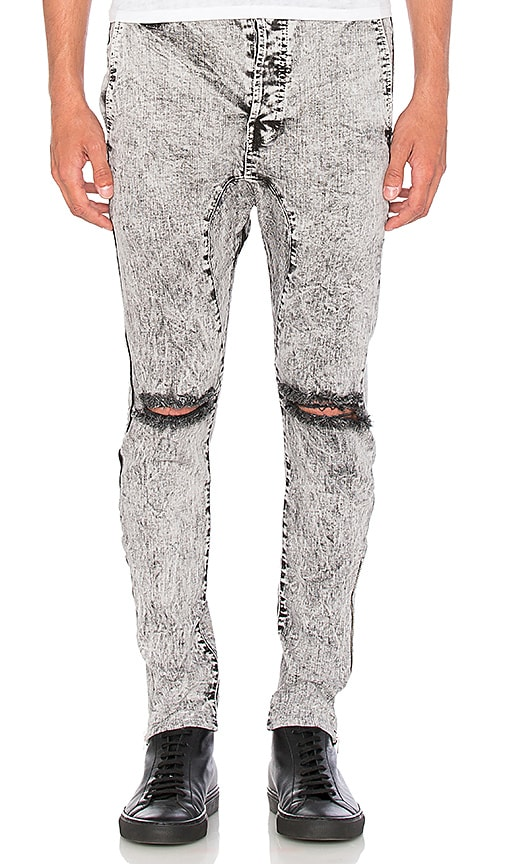 Daniel Patrick Low Crotch Ripped Skinny Jean in Black Acid